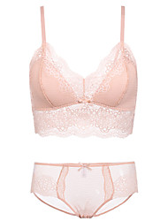 cheap -Women's Full Coverage Bras & Panties Sets Lace Bras Wireless - Solid Floral