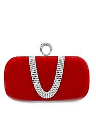 economico -Per donna Sacchetti Velluto Borsa da sera Dettagli con cristalli Rosso