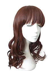 cheap -Synthetic Wig Natural Wave With Bangs Natural Hairline Red Capless Celebrity Wig Natural Wigs Long Synthetic Hair