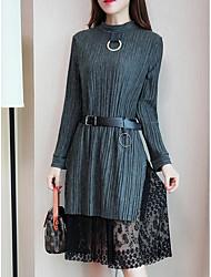 baratos -Mulheres Tamanhos Grandes Solto Vestido - Estilo Artístico / Estilo Clássico, Sólido Médio