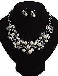 cheap -Women's Jewelry Set Imitation Pearl Imitation Pearl Alloy Flower Casual Bohemian European Party Evening Party 1 Necklace Earrings Costume
