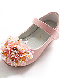 cheap -Girls' Shoes PU Spring Comfort / Novelty / Flower Girl Shoes Flats Beading / Appliques / Magic Tape for White / Pink / Wedding