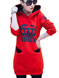 cheap -Women's Daily Hoodie Print Hooded Micro-elastic Polyester Long Sleeve Winter Fall