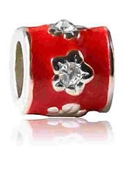 baratos -Jóias DIY 1 pçs Contas Imitações de Diamante Liga Vermelho Cilindro Bead 0.5 cm faça você mesmo Colar Pulseiras