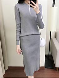 abordables -Femme Sortie Set - Couleur Pleine Robes