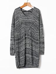 Недорогие -Жен. Длинный рукав Длинный Пуловер - Сплошной цвет V-образный вырез