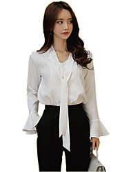 cheap -Women's Work Street chic Cotton Shirt - Solid Colored V Neck