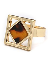 cheap -Women's Onyx Geometric Open Cuff Ring - Agate, Alloy Simple, Korean, Fashion Adjustable Gold For Daily