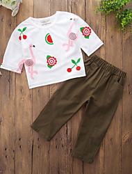 billige -Pige Tøjsæt Daglig I-byen-tøj Ensfarvet Geometrisk Trykt mønster, Bomuld Polyester Forår Sommer Kortærmet Simple Afslappet Army Grøn