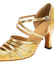 cheap -Modern Glitter Faux Leather Sandal Heel Customized Heel Gold Customizable