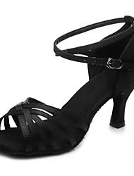 preiswerte -Schuhe für den lateinamerikanischen Tanz Satin Absätze Rattan Kubanischer Absatz Maßfertigung Tanzschuhe Schwarz / Beige / Dunkelbraun