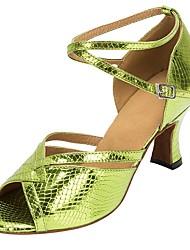 abordables -Chaussures Latines Faux Cuir Sandale / Talon Professionnel Talon Personnalisé Personnalisables Chaussures de danse Vert