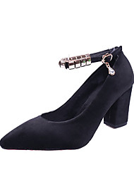 cheap -Women's Shoes PU Spring Comfort Heels Walking Shoes Stiletto Heel Round Toe Applique for Casual Black Gray Green Pink Light Brown