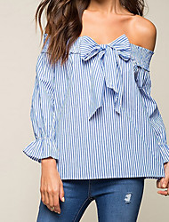 cheap -Women's Casual Cotton Shirt - Striped Boat Neck / Spring / Fall