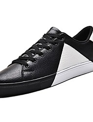 baratos -Homens sapatos Couro Ecológico Primavera Outono Conforto Tênis para Casual Branco Preto Rosa e Branco