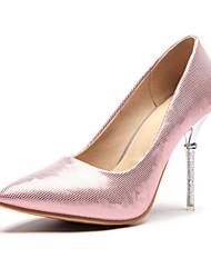 baratos -Mulheres Sapatos Couro Ecológico Primavera / Outono Conforto / Inovador Saltos Salto Agulha Dedo Apontado Prata / Vermelho / Rosa claro