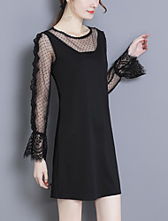 cheap -Women's Going out Sexy Lace Little Black DressPolka Dot Round Neck Above Knee Long Sleeve Polyester Spandex Spring Mid Waist