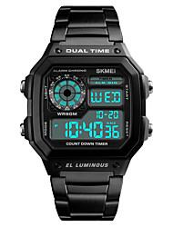Недорогие -S KMEI Муж. Нарядные часы Наручные часы Цифровой 30 m Защита от влаги Календарь Секундомер Нержавеющая сталь Группа Цифровой На каждый день Мода Черный / Серебристый металл / Золотистый - / Два года