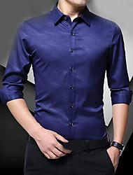 Недорогие -Муж. Рубашка Хлопок Однотонный