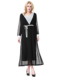 cheap -Women's Work Active Loose Swing Jalabiyah Dress,Color Block Round Neck Midi Long Sleeve Polyester Spring Summer Mid Rise Inelastic Sheer