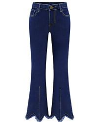 abordables -Mujer Casual Tallas Grandes Vaqueros Delgado Ajustado a la Bota Pantalones - Un Color