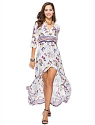 cheap -Women's Beach Boho Loose Dress - Floral Print High Waist Maxi V Neck