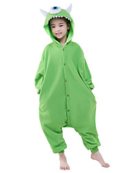 cheap -Kigurumi Pajamas One-Eyed Monster / Anime Onesie Pajamas Costume Polar Fleece Green Cosplay For Kid's Animal Sleepwear Cartoon Halloween