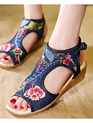 cheap -Women's Shoes Fabric Spring Summer Comfort Sandals Wedge Heel for Casual Purple Blue