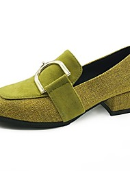 cheap -Women's Shoes PU Spring Fall Comfort Heels Chunky Heel Round Toe for Casual Yellow Black