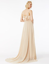 cheap -A-Line Spaghetti Straps Sweep / Brush Train Chiffon Bridesmaid Dress with Criss Cross Ruffles by LAN TING BRIDE®