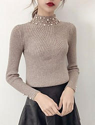 economico -Standard Pullover Da donna-Per uscire Tinta unita Rotonda Maniche lunghe Cashmere Inverno Spesso strenchy