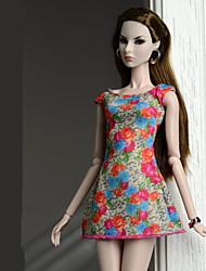 abordables -Robes Robes Pour Poupée Barbie Rouge orangé Polyester/Coton Robe Pour Fille de Jouets DIY