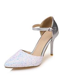abordables -Femme Chaussures Similicuir Printemps Eté Confort Chaussures à Talons Talon Aiguille Bout pointu pour Mariage Habillé Or Argent