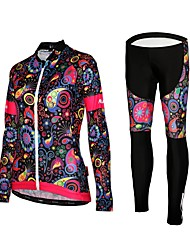 cheap -Women's Long Sleeves Cycling Jersey with Tights - Black Floral / Botanical Bike Tights Jersey, Quick Dry, Reflective Strips