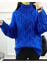 Недорогие -Жен. Длинный рукав Пуловер-Однотонный