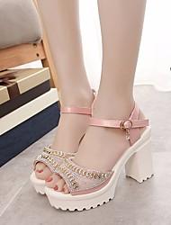 Недорогие -Жен. Обувь Полиуретан Весна Осень Удобная обувь Сандалии На толстом каблуке для Повседневные Белый Розовый Светло-синий