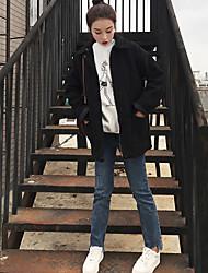 Недорогие -Жен. Повседневные На выход Зима Обычная Куртка Квадратный вырез, Шинуазери (китайский стиль) Однотонный Шерсть