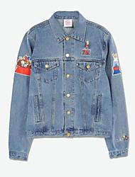 baratos -Mulheres Jaqueta jeans Para Noite Algodão Colarinho de Camisa Estampado Bordado
