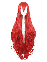 cheap -44inch Long Wave Red Land of the Lustrous Padparadscha Wigs Synthetic Anime Cosplay Wig CS-352E