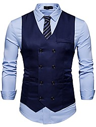 cheap -Men's Daily Work Simple Spring Fall Regular Vest, Solid V Neck Cotton Acrylic Polyester