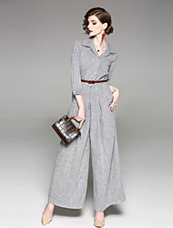 cheap -Women's Mid Rise Inelastic Loose Wide Leg Pants, Vintage Street chic Solid Polyester All Seasons