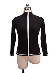 abordables -Chaqueta de lana para patinaje artístico Mujer Chica Patinaje Sobre Hielo Top Negro Licra Elástico Rendimiento Práctica Ropa de Patinaje