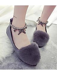 Недорогие -Жен. Бархатистая отделка Весна / Осень Удобная обувь На плокой подошве На низком каблуке Черный / Серый