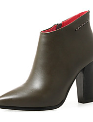 cheap -Women's Shoes Leatherette Winter Fall Fashion Boots Bootie Boots Chunky Heel Pointed Toe Booties/Ankle Boots for Office & Career Dress