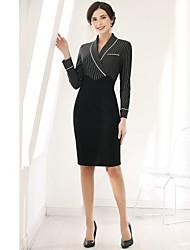 baratos -Mulheres Diário Casual Bainha Altura dos Joelhos Vestido,Básico Listrado Colarinho de Camisa Manga Comprida