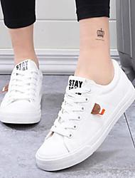 abordables -Femme Chaussures Toile Eté Confort Basket Talon Plat Bout fermé pour De plein air Blanc Noir Bleu