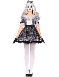 cheap -Vampire Cosplay Costume Women's Halloween Festival / Holiday Halloween Costumes Black Plaid/Check