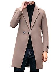 Jednobarevné Jdeme ven Na běžné nošení Kabát-Zima Polyester Košilový límec Dlouhé rukávy Dlouhé Velkoformátové