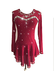 cheap -Figure Skating Dress Women's / Girls' Ice Skating Dress Burgundy Spandex Stretchy Skating Wear Sequin Long Sleeve Figure Skating