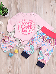 cheap -Baby Unisex Daily School Floral Clothing Set, Cotton Spring Fall Casual Active Long Sleeves Blushing Pink